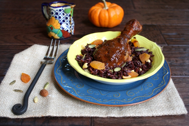 Recipe: Chicken mole with Fall harvest rice