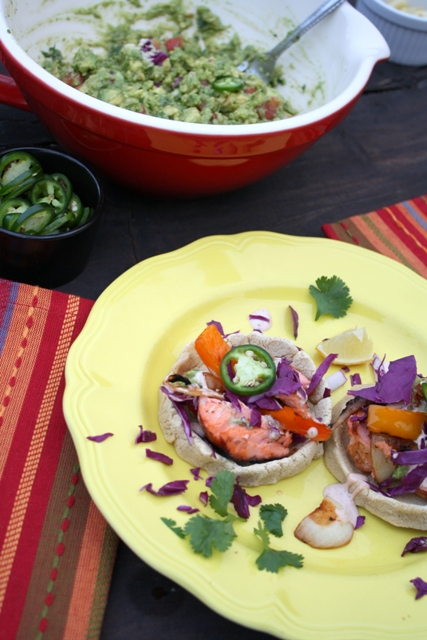 Recipe: Blackened salmon sopes with grilled peppers and onions