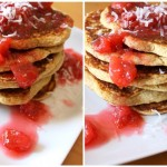Thumbnail image for Coconut Cornmeal Pancakes with Homemade Pluot Syrup Recipe