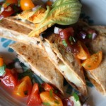 Thumbnail image for Squash blossom, Mushroom and Cheddar Cheese Curd Quesadilla